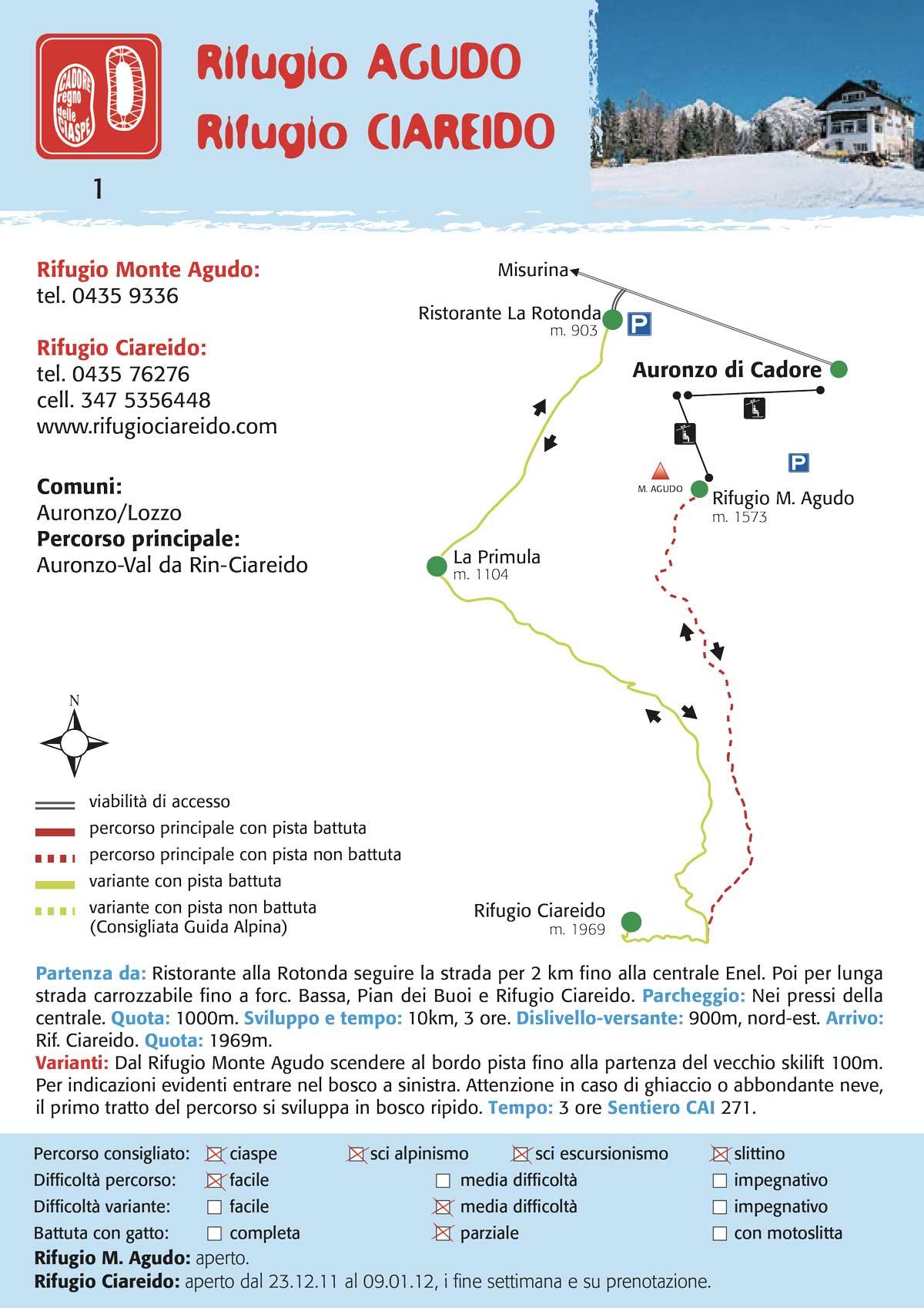 Rifugio Monte Agudo - Rifugio Ciareiodo | Percorso per ciaspe, slittino, scialpinismo